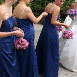 Prom bridesmaid dress blue satin like long